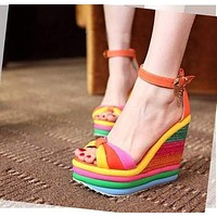 Bohemia Casual Rainbow Coloring Thick Sole Sponge Cake Heel Peep Toe wedge Sandals