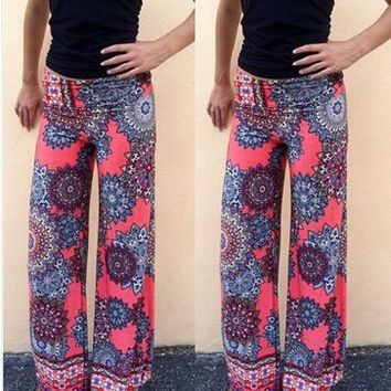 Hot Popular 2017 Trending Fashion Women Floral Printed Floral Printed Trousers Pants _ 11169