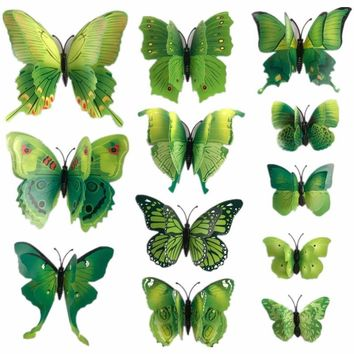 12 Pcs/Lot PVC 3D Magnet Butterfly Wall Stickers Butterflies Decors for Wedding Party Home Kitchen Fridge Decoration F0029-2