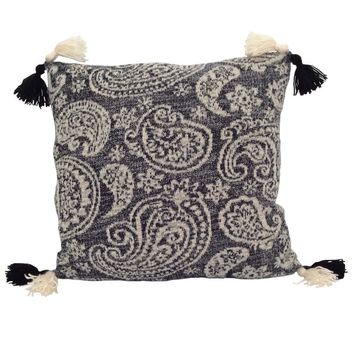 "Knitted/Triko Paisley Pattern 17""x17"" Black/Cream Pillow Case/Cushion Cover"