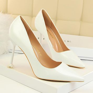 Candy Color Pointed Toe Kitten Stiletto Heel Low Cut High Heels b35b03150