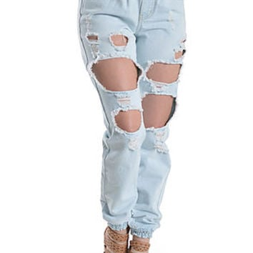 The Destroyed Denim Jogger Pants in Light Blue