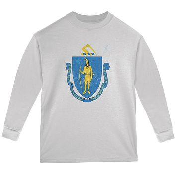 Born and Raised Massachusetts State Flag Youth Long Sleeve T Shirt