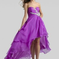 Beaded Purple Pleated Short High Low Layered Bridesmaid Dress [Clarisse 2307 Purple] - $175.00 : 2015 Trends Fashion Dresses For Prom,Save Up 50%