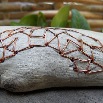 driftwood sculpture, copper and wood sculpture, modern embroidery, geometric art, table top art, recycled wood art