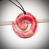 Wood koru, Wood necklace, Wood pendant, Wood jewelry, Spiral necklace, Wood spiral, Wooden jewelry, Wooden necklace, Wooden pendant, Red