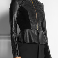 ALICE by Temperley | Giovanni suede-paneled leather peplum jacket  | NET-A-PORTER.COM