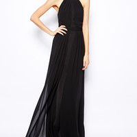 Black Halter Maxi Dress with Slit