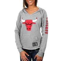 Chicago Bulls Ladies 6th Man V-Neck Pullover Hoodie - Ash
