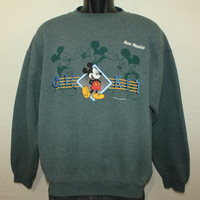 Mickey Mouse New Mexico vintage sweatshirt L 90s green Walt Disney cotton poly