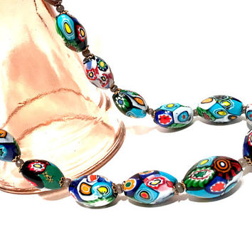 Millefiori Bead Necklace, Vintage, Murano Glass Beads, Art Deco, Oval Graduated Beads, Brass Filigree Caps, Italian Glass Bead Necklace