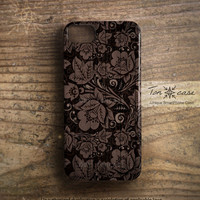 Flower iPhone 5 case - Flower iPhone 4 case, iPhone 4s case, high quality 3d print, floral - vintage flower pattern on wood(c10)