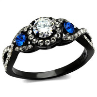 A Perfect 1CT Round Cut Solitaire Russian Lab Diamond Black Infinity Ring