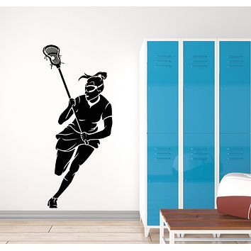 Vinyl Wall Decal Lacrosse Girl Player Stick Sports Game Ball Stickers Mural (g569)