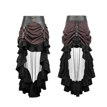 Steampunk Stripe Transparent Mesh Cocktail Skirt Sexy Casual Asymmetric Skirts Women High Waist Skirt with Lotus Leaf Ruffles