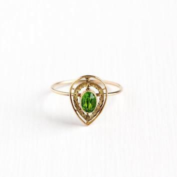 Antique 10k Rosy Yellow Gold Simulated Peridot Stick Pin Conversion Ring - Vintage Art