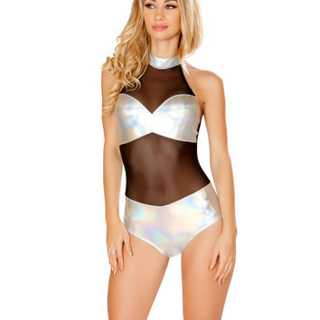 Black/Silver Sheer Holographic Rave Bodysuit with Tube Panel