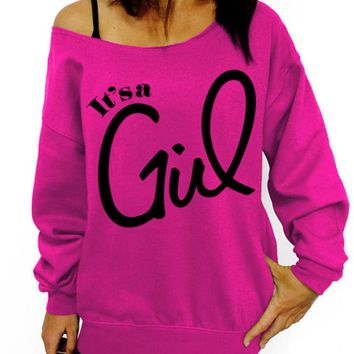 It's A Girl, Slouchy Sweatshirt, Oversized Sweater, Mother's Day Gift Idea, Pregnancy, Maternity, Gender Reveal, New Mom, Baby Shower