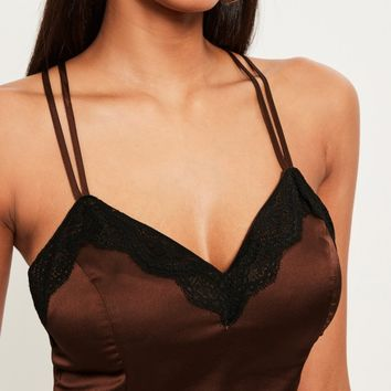 Missguided - Brown Lace Trim Satin Bralet
