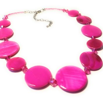 Sizzling Hot Pink Disc and Bead Necklace Earring Set