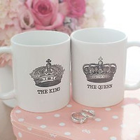 His and Hers Matching Coffee Mug Cup Set - The King and Queen Crown (MC026)