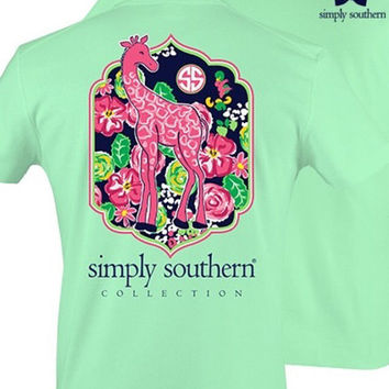 NEW 2016 Simply Southern Preppy Giraffe short sleeve t-shirt