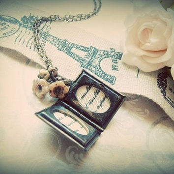 A Beautiful Reader Rustic book locket with vintage by japonicas