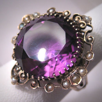 Regal Antique Amethyst Seed Pearl Ring by AawsombleiJewelry