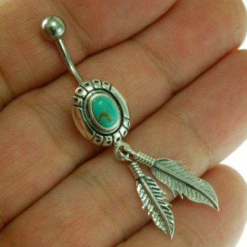 Native American Belly Button Navel Ring w Turquoise 316L Steel & Silver, FBN298