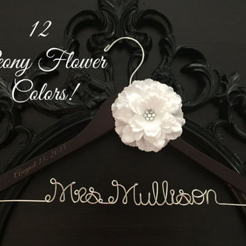 Flower Wedding Dress Hanger, Bride Hanger, Name Hanger, Mrs. Hanger, Wedding Hanger, Personalized Bride Gift, Peony Flower Bridal Hanger