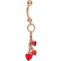Handcrafted Rose Gold Plated Falling Heart Belly Ring | Body Candy Body Jewelry
