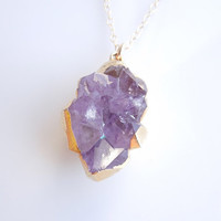 Amethyst Druzy Necklace - Purple Drusy - OOAK Jewelry