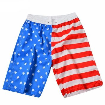USA American Flag Men's Beach Shorts Bermuda Trunks Swim Shorts