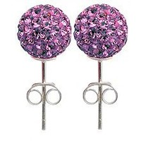8MM Rhodhium bling bling Stud Earrings by GlitZ JewelZ © - CZ Amethyst color