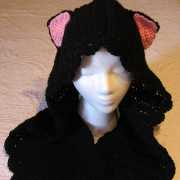 Crochet Hooded Cat Scarf Very Cute and Fun Scarf Great for Winter