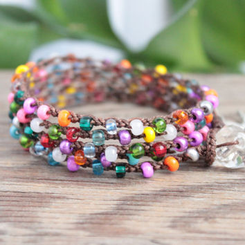 Boho Crochet Wrap Bracelet Necklace Anklet, 5X, Rainbow Bits, Gypsy Shabby Chic Colorful Spring Summer Jewelry