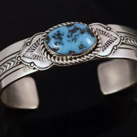 LES BENNETT Navajo Native American Sterling Silver Turquoise Cuff Bracelet 52 grams