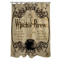 Shower Curtain Witches Cauldron Tan Brown Print Brew Potion Fall Harvest NEW