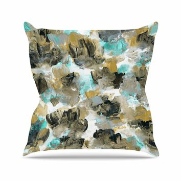 """Ebi Emporium """"Floral Spray 6"""" Maroon Multicolor Floral Abstract Painting Mixed Media Throw Pillow"""