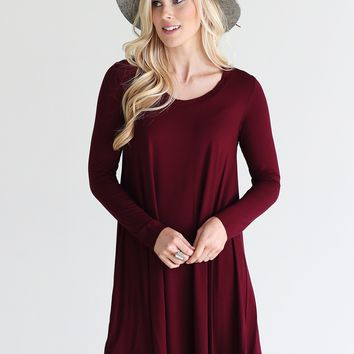 Burgundy PIKO Swing Dress