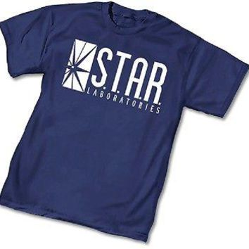 DC STAR LABORATORIES LABS Logo  BLUE ADULT Licensed T-Shirt - Flash Arrow  S-3XL
