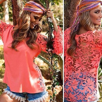Stylish Lady Sexy Women's Long Sleeve O-neck Hollow Out Lace Floral Tops Shirt Blouse = 1745584260