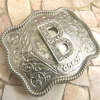Monogram Letter B Personalized Silver Belt Buckle, Rhinestone Initial B Monogrammed Womens Mens Kids Western Belt Buckle, Custom Belt Buckle