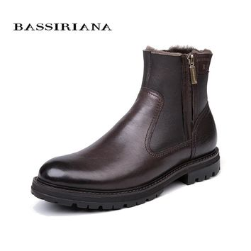BASSIRIANA - men's winter boots, natural leather sheep wool lining, big Russian sizes 39-45, black and brown free shipping