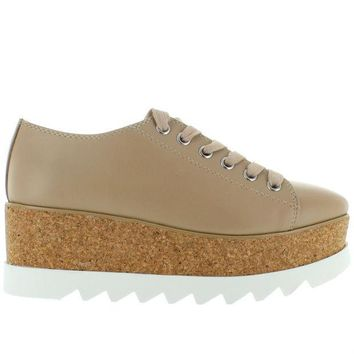 VONES2C Steve Madden Korrie - Natural Leather High Platform Sneaker