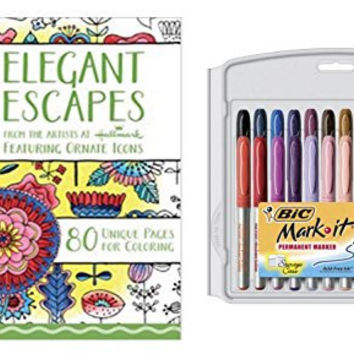 Adult Coloring Set: Crayola Aged Up Elegant Escapes Coloring Book and BIC 24-Count Mark-It Fine Point Permanent Markers