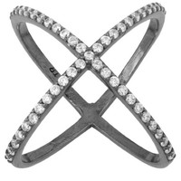 Ladies 925 Sterling Silver Black Plated Criss Cross 'X' Ring with Cubic Zirconia Stones