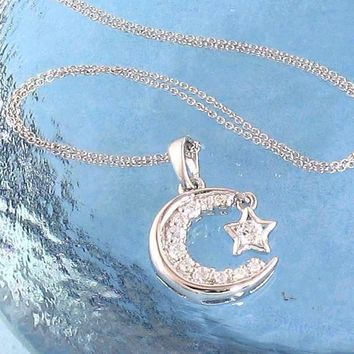 Luminous Crescent Moon & Star Necklace in Sterling Silver