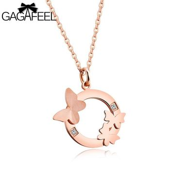 Gagafeel Laser Engrave Custom Butterfly Pattern Necklace For Woman Jewelry Stainless Steel Rose Gold Crystal Zircon Pendant
