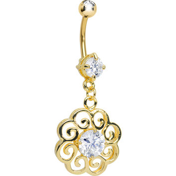 Gold Plated Clear Gem Round Filigree Dangle Belly Button Ring